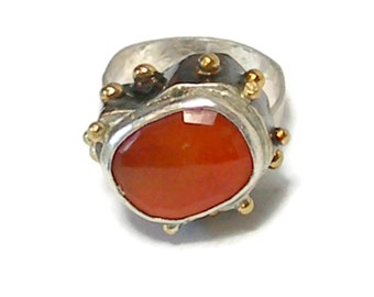 Statement Ring with Rose Cut Carnelian and 18 k Gold, 3 D Ring,3 Dimensional,Cocktail Ring, Renaisannce, Gemstone Ring, Fine Jewelry