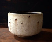 Ships Now-  tea bowl - crater white with dripping black dots by sara paloma