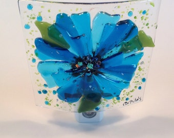 Fused Glass Turquoise Blue Flower Night Light