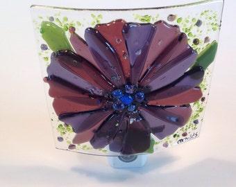 Fused Glass Night Light (Purple Flower)