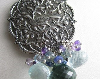 SALE Bird in the Thicket Necklace - Sterling SIlver, Quartz, Topaz, Amethyst and Kyanite Necklace