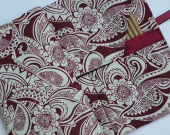 circular knitting needle case - double pointed knitting needle case - knitting organizer - knitting case - paisley floral print