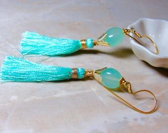 Aqua Agate Stone Gold Tassel Earrings