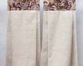 SET of 2 - Hanging Cloth Top Kitchen Hand Towels - Brown and Gold Paisley Print, Larger Beige Tan Towels