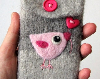 Gray wool pouch bag purse cozy with metal clasp needle felted pink birdie bird heart