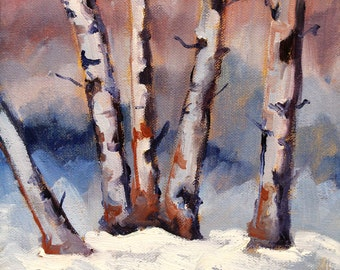 Snowy Birch Trees, Original Landscape Oil Painting, 8x10 Winter Scene, Canvas Art, Wall Decor, Blue Brown, Small Rural Design, Western