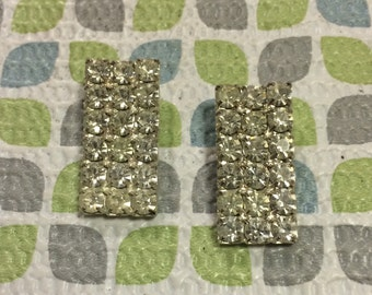 Stunning Deco Rectangle Rhinestone Silver Tone Vintage Shoe Clips Lot 57