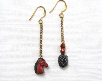 Your Move earrings - asymmetrical design chess inspired red horse head and black glass bead earrings - OOAK one of a kind