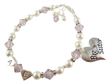 Big Sister Bracelet Personalized Charm, Little Sister, Baby, Light Amethyst & White pearl crystals