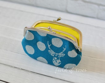Women's Wallet Frame Purse with Divider Echino Deer Turquoise Metallic Silver