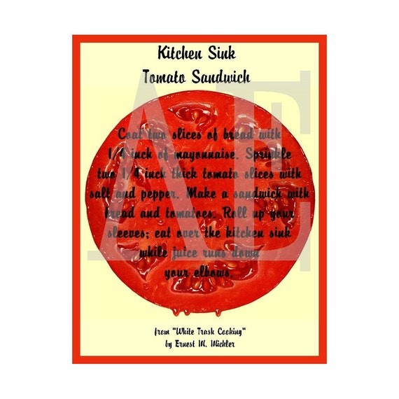 RC-024 Artistic Ephemera Recipe Cards - Set of 8 - From White Trash Cooking - Kitchen Sink Tomato Sandwich - Also Available as Postcards