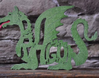 Fantasy Green Fire Breathing  Dragon Wood Puzzle Hand Cut with Scroll Saw Toy