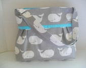 Diaper Bag - Gray Whale -Turquoise - Adjustable Strap - Whale Diaper Bag - Messenger Bag - Bags and Purses -  Stroller Straps