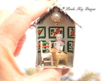 Home Is Where The Dog Is Frozen Charlotte Dollhouse Necklace Soldered House Mixed Media Shadowbox Pendant or Ornament