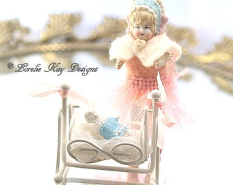 Miniature Dollhouse Doll Cece & Charlotte Needle Felted Doll Miniature Art Doll German Doll Parts Doll  Lorelie Kay Original
