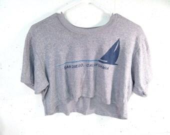 Vintage 80s San Diego California crop top, heather gray, tshirt half top, tourist tee