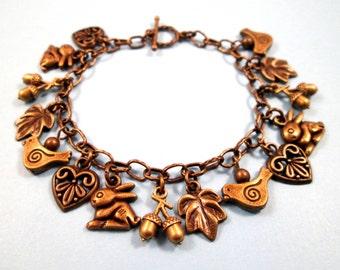 Brass Charm Bracelet, Bunnies and Birds, Woodland Style Bracelet, FREE Shipping U.S.