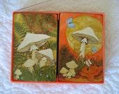 "2 Vintage decks ""Mushroom Magic"" playing cards Hallmark missing 1 card butterflies"