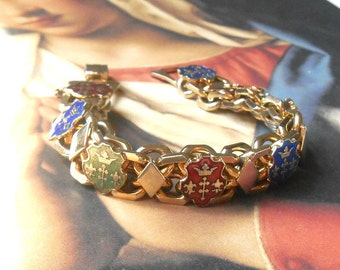 Vintage Mid Century Gold & Enamel French Heraldic Shield Bracelet - Red, Blue, Green, French Coat of Arms, Crown, Double Cross, Fleur de Lis
