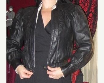 50% Off SALE Vintage Black Leather Cafe Racer Jacket Small Rockabilly Punk