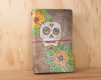 Midori Cover - Leather in the Walden Pattern - Sugar Skull and Flowers in White, Green, Yellow and Antique Black