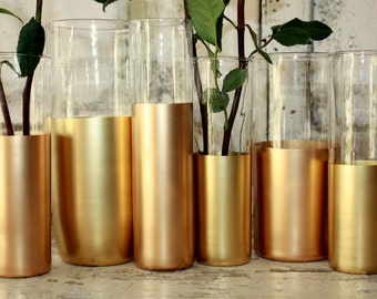 Gold wedding decor,  6 Gold dipped cylinder vases or candle holders, table decorations, wedding table centerpieces