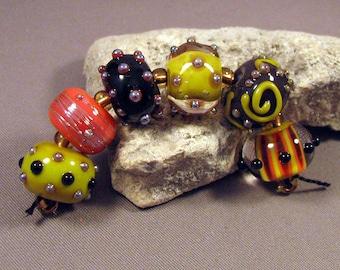 Handmade Lampwork Beads by Monaslampwork - Halloween Glam - Lampwork Glass Beads Ghouls Pumpkins Bats Skulls RIP Stripes Orange Black Fall
