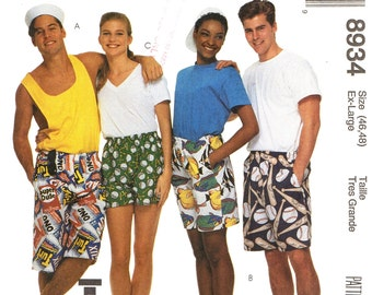 McCall's 8934 BOXER SHORTS Men's / Unisex Extra Large 46 - 48 Hip 3 Lengths ©1997