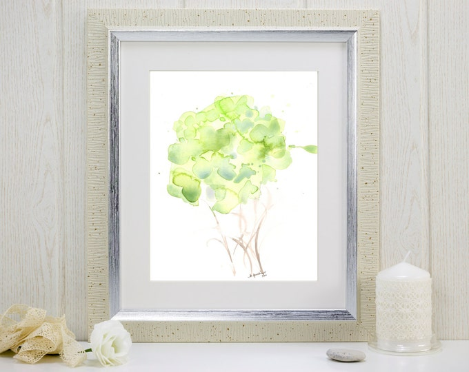 """Art print of pale green watercolor flowers: """"Woodland Bouquet"""""""