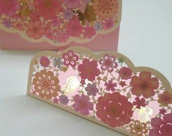 Pink Floral Butterfly - exquisite die-cut design cash envelope packet (1 unit)