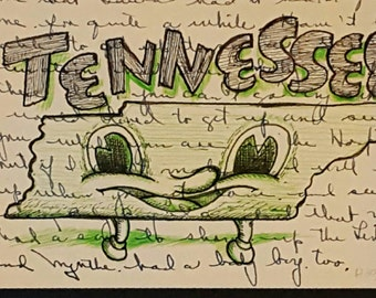Tennessee - Original drawing on letter by Mr Hooper of Nashville Tennessee