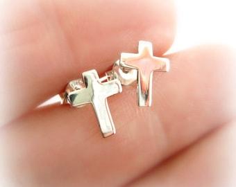 Sterling Silver Cross Post Earrings. First Communion Cross Earrings. Religious Cross Earrings