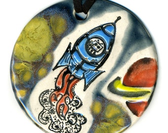 Rocket To Space  Ceramic Necklace