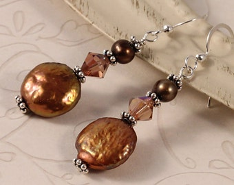 Brown Crystal Pearl Earrings, Warm Neutral Colors, Freshwater Coin Pearls, Swarovski Crystals, Sterling Silver, Gift For Her, EBRO