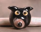 Lampwork Black Dog Face Bead Divine Spark Designs SRA