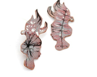 Nature Girl Pin - OOAK - Vitreous enamel with hand painted leaf design