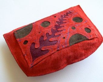 Wallet Pouch in red suede