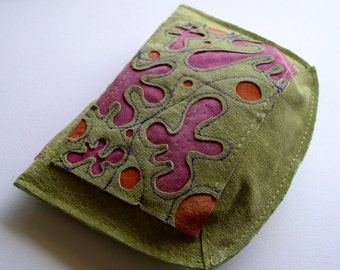 Wallet Pouch in lime green suede