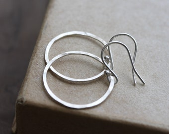 Plain silver or gold hoop earrings - hammered sterling silver or 14k gold filled circle earrings - Halo Collection