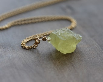 Raw heliodor necklace - rough yellow aquamarine crystal on 14k gold filled chain - yellow beryl, rough heliodore jewelry