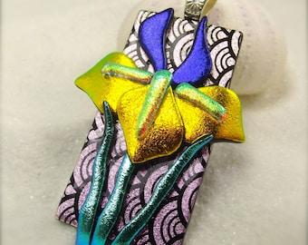 Iris flower jewelry, iris pendant, dichroic necklace, statement pendant, flower jewelry, wedding gift, glass gifts, unique and stylish, ooak