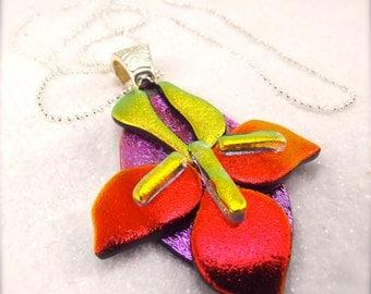 Iris flower jewelry, dichroic glass iris, iris necklace, iris pendant, dichroic pendant, handcrafted, unique, flower jewelry, hana sakura