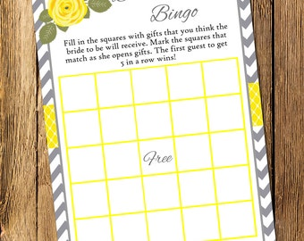 Printable Yellow and Gray Bridal Shower Bingo Game - Instant Download
