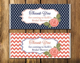 Printable Bridal Shower Navy and Coral Rose Large Candy Bar Wrappers