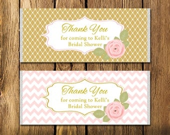Printable Bridal Shower Pink and Gold Rose Large Candy Bar Wrappers