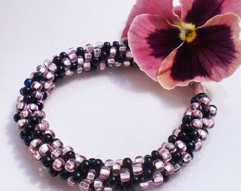 Kumihimo Beaded Bracelet Braided Bracelet Pink Onyx Czech Glass Beads