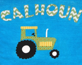 Personalized Large Turquoise Velour Beach Towel with Tractor,Tractor Towel,Kids Bath Towel,Baby Gift, Bridal Party Gift, Tractor Gift,Camp