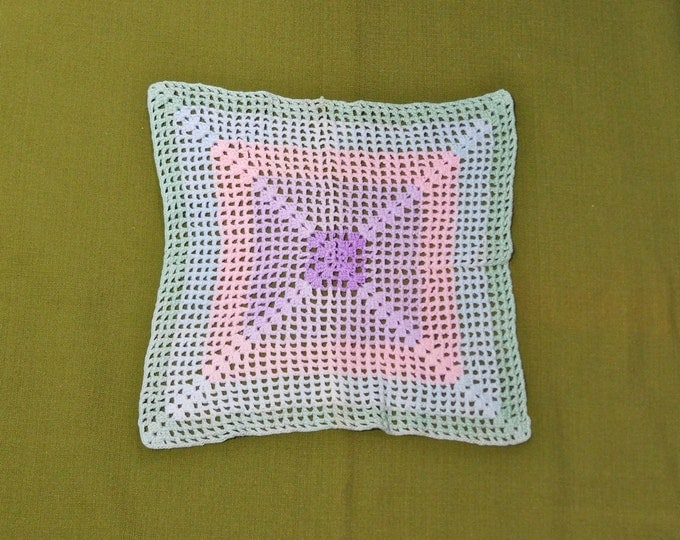Square Vintage Crocheted Lace Doily Green Blue Pink Purple 11 inch