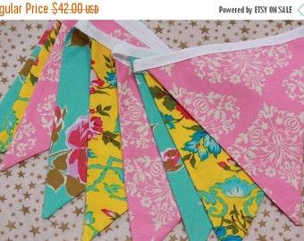 STOREWIDE SALE Bunting Flag Banner, Large, Double Sided Flags.  Shabby Chic Designer Fabrics, Weddings, Birthdays, Shower Decor.