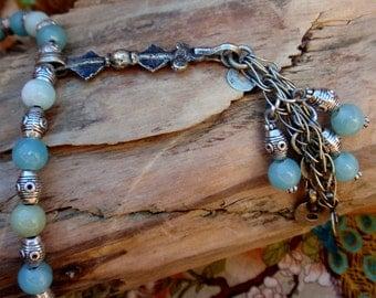 Amazonite BOHO Dangle Pendant And Leather Cord Necklace